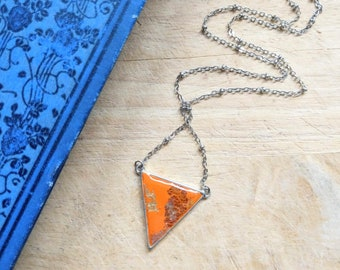 Geometric orange triangle necklace / Handmade polymer clay and resin pendant / Hypoallergenic / Pick your length from choker to matinee