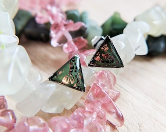 Khaki green and rose gold triangle ear studs in 316L stainless steel settings