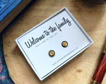 Welcome to the family, we're lucky to have you / Handmade polymer clay and resin stud earrings in a printed gift box / Hypoallergenic