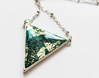 Emerald green and gold triangle necklace, forest green triangular pendant, green geometric necklace, green gold pendant necklace, no nickel