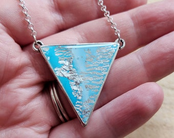 Pale blue silver triangle necklace, turquoise triangular pendant, teal geometric necklace, duck egg blue pendant necklace, Bay o' Skaill