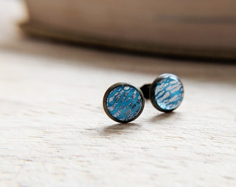 Turquoise and silver earrings in bronze setting, turquoise stud earrings with silver flecks in bronze, round turquoise studs, nickel free