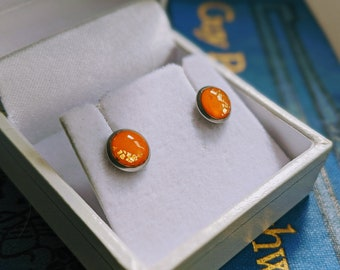 Orange polymer clay and resin earrings / Small hypoallergenic steel studs / Quirky and fun handmade jewellery