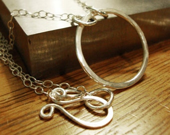 Sterling Silver Eternity Necklace - Hammered Circle Necklace - Handmade Jewelry
