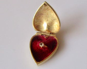 9ct Gold Heart Locket and Ring My Love Engraved Charm Pendant