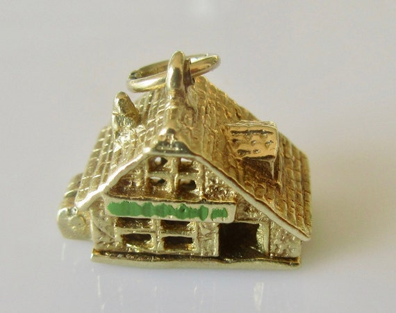 9ct Gold House Opens to Furniture Enamel Charm