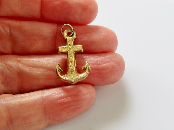 Vintage 9ct Gold Anchor Bracelet Charm - image 3