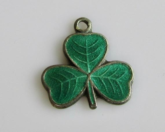 Vintage sterling silver green enamel shamrock leaf cufflinks