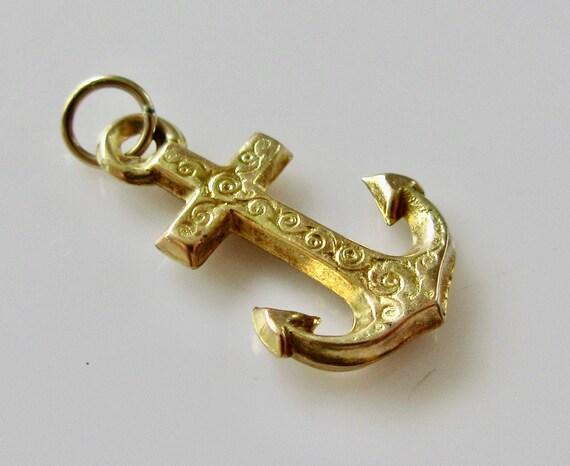Vintage 9ct Gold Anchor Bracelet Charm - image 2