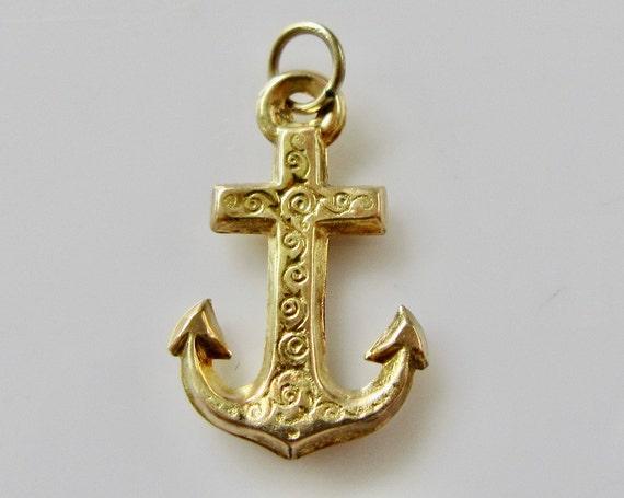 Vintage 9ct Gold Anchor Bracelet Charm - image 4