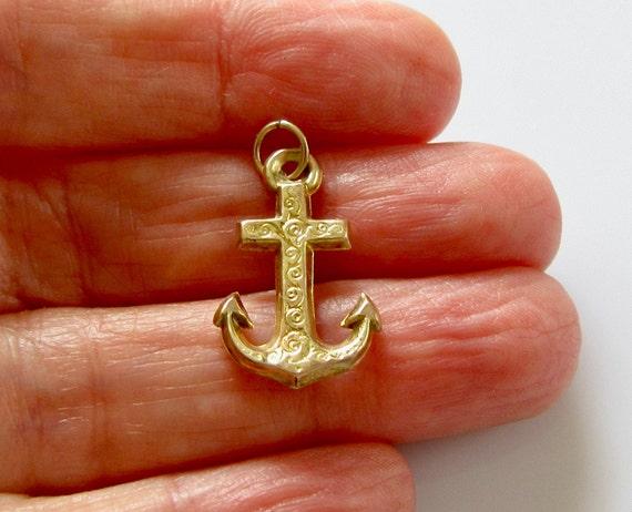 Vintage 9ct Gold Anchor Bracelet Charm - image 7