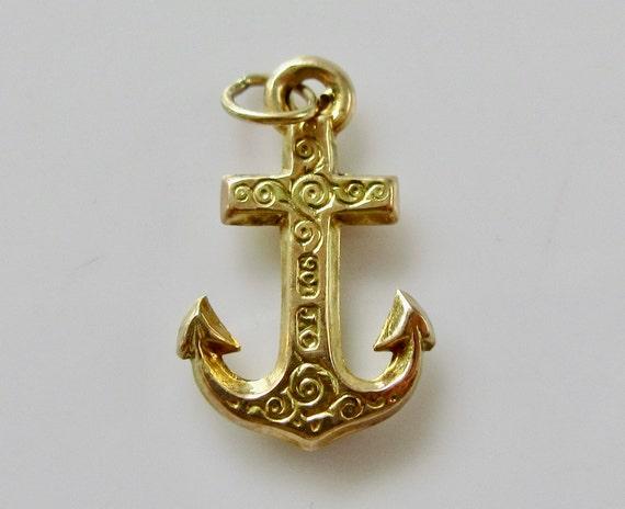 Vintage 9ct Gold Anchor Bracelet Charm - image 8