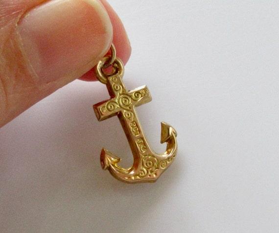 Vintage 9ct Gold Anchor Bracelet Charm - image 6