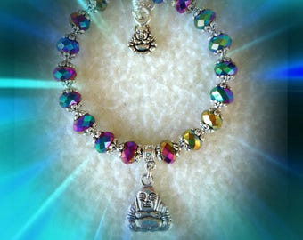 Buddah bangle style beaded bracelet, rainbow faceted rondelles,Tibetan silver spacers, connector, extension chain, trigger clasp,adjustable