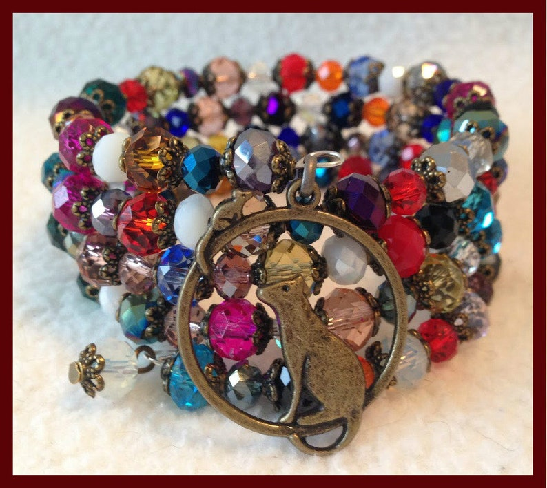 Cat /& Mouse 4 wrap memory wire bracelet fits all size wrists bronze bead caps assorted colours of faceted rondelles,nickel free,colourful