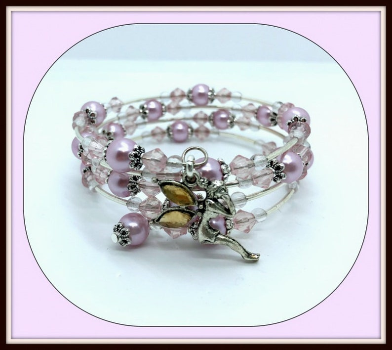 Pink Fairy 4 wrap memory wire bracelet fairy charm with pink image 0