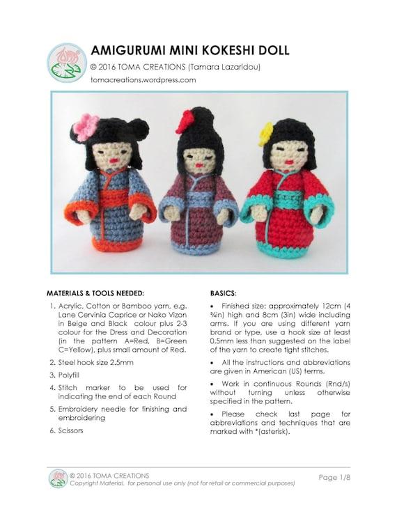 Amigurumi Geisha, Kokeshi, a Japanese Doll | Toma Creations | 738x570