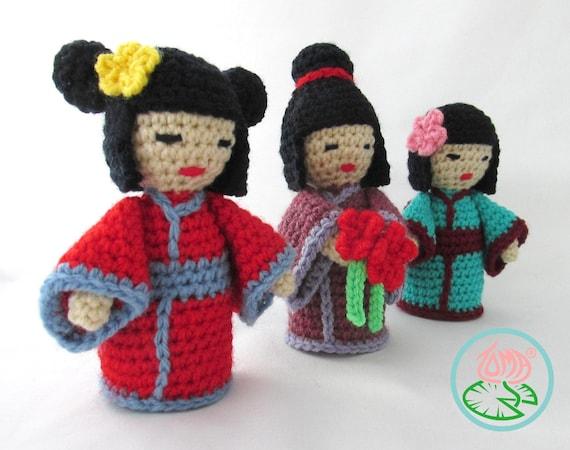 Amigurumi Kokeshi Dolls Free Crochet Pattern | 450x570