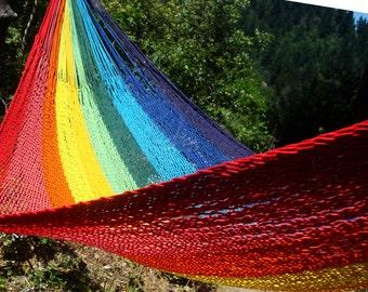 Rainbow color, Mexican hammock,double size