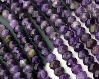 Natural Amethyst 4mmx6mm Faceted Rondelle Beads, Full Strand J1206