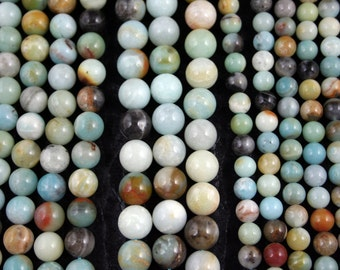 Natural Amazonite Multiple Color 8mm/10mm/12mm Round Beads, Full Strand G01220