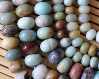 Natural Amazonite Multiple Color 6x8/8x12 Rondelle Beads Strand, 16-Inch Strand G01165