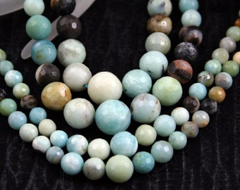 Natural Amazonite Multiple Color Graduated Faceted Round Beads, 15.5-Inch Strand G01224