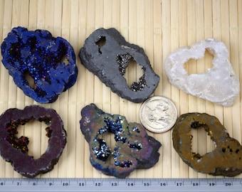 Natural Geo Druzy Crystal Quartz Slice Bead (Natural or Titanium Coated) J1311
