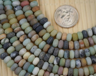 Natural Amazonite Multiple Color 5X8mm Matte finished Rondelle Beads G52215, Full Strand