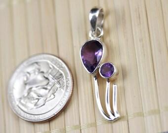 Sterling Silver 925 Amethyst Pendant, Designer's Collection J1320 SS011