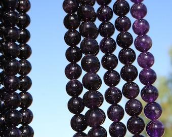 Natural Amethyst 14mm Round Beads, Full Strand J1407