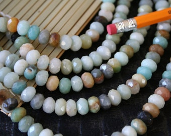 Natural Amazonite Multiple Color 10mm x 14mm Faceted Rondelle Beads Strand, 16-Inch Strand G01222