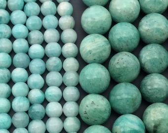 Peru Natural Amazonite 5mm/8mm/10mm Round Beads, Full Strand J1106