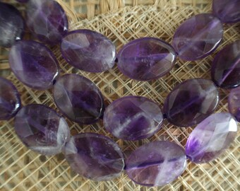 Natural Amethyst 5x10x14mm Flat Oval Faceted Beads, Full Strand G01097