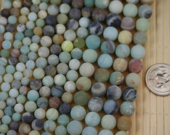 Natural Amazonite Multiple Color 6mm/8mm/10mm Matte Finished Round Beads, 15.5-Inch Strand G52215