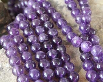 Natural Amethyst 10mm Round Beads, Full Strand J1403