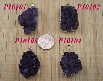Natural Amethyst Irregular Pendant Bead, Metal(Silver Over Copper) Framed and Bailed J1320
