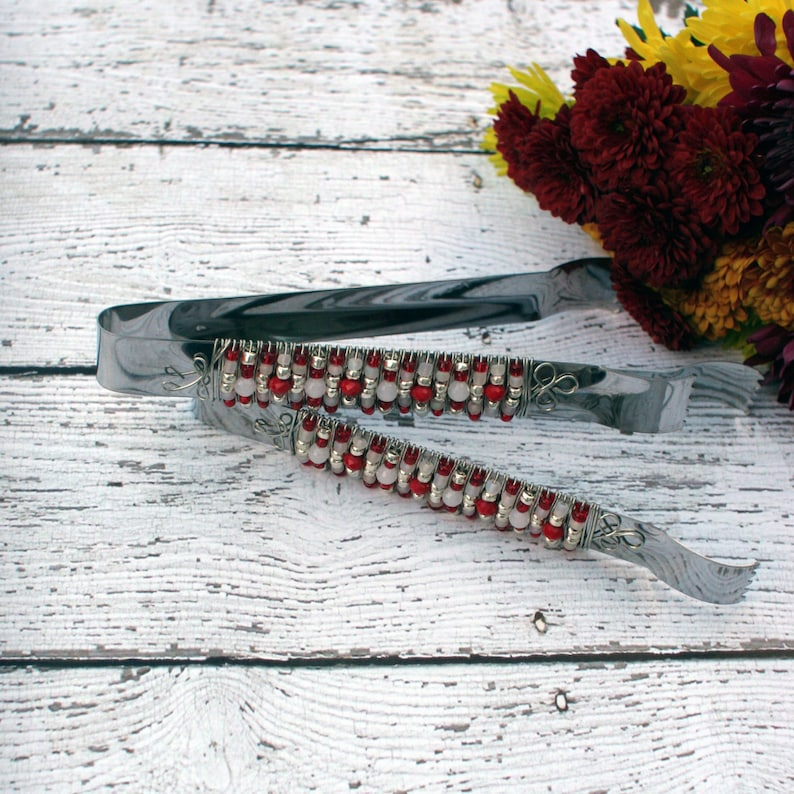 TONGS SET Red White Silver Beaded Appetizer Tong Table image 0