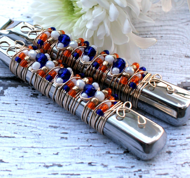 SALAD SERVERS Blue White & Orange Beaded Wire Wrapped Salad image 0