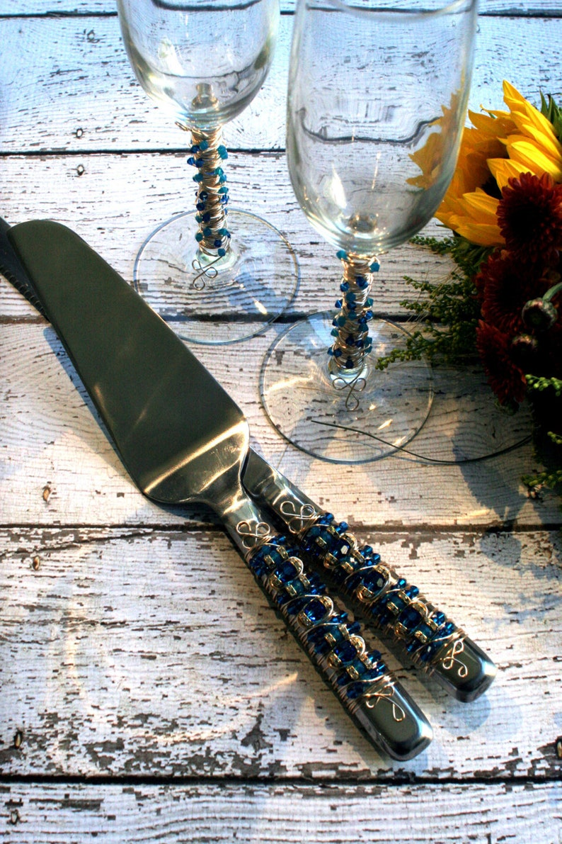 DELUXE SET Blue & Gold Beaded Wedding Cake Servers and image 0