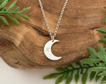 Simple Crescent Moon Charm Necklace with Personalized Initial or Hammered Finish, Handmade in Solid Sterling Silver