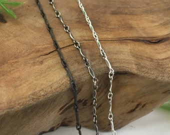 New! Dapped Bar & Link Sterling Chain, Necklace Bracelet or Anklet - Silver, Rustic, or Dark Finish - 14, 16, 18, 20, 24, 30 inch lengths