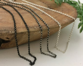 Solid Sterling Silver Rolo Chain - Silver, Med or Dark Silver Finish - 14, 16, 18, 20, 24, 28, 30 inch lengths
