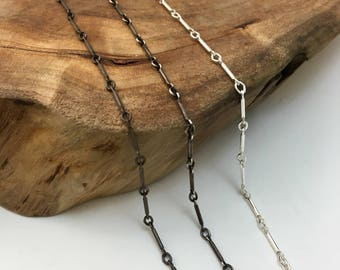 Sterling Silver Chain - Bar & Link Chain- Silver, Med or Dark Silver Finish - 14, 16, 18, 20, 24, 30 inch lengths