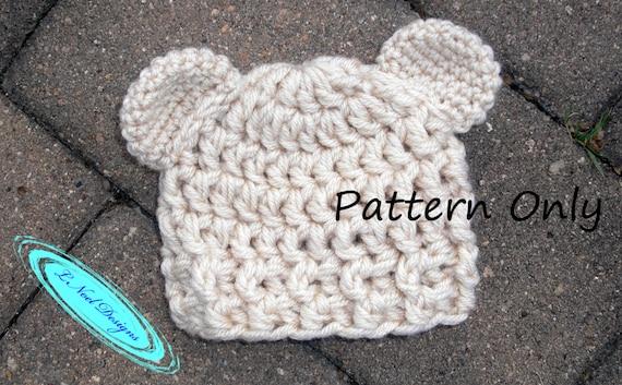 Crochet Hat Pattern Teddy Bear Hat Crochet Bear Hat Pattern Etsy