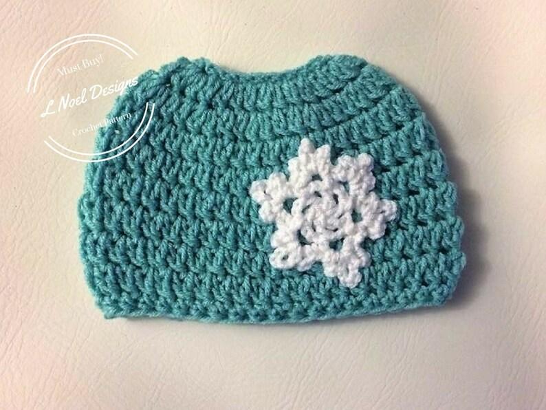 CROCHET PATTERN: Snowflake Bun Hat  Messy Bun Hat Crochet image 0