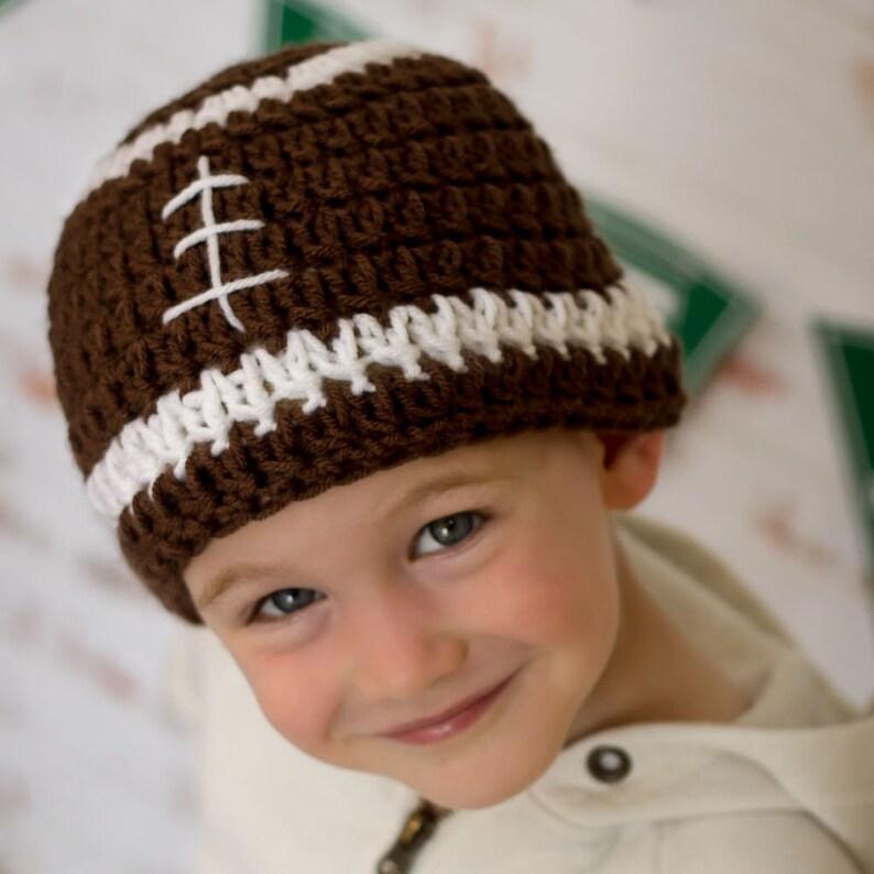 Crochet Football Hat Pattern Crochet football beanie pattern image 0