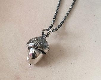 Acorn - Small Oak Nut Pendant - Semi-Oxidized Silver - Silver Pendant - Sustainable - Made to Order