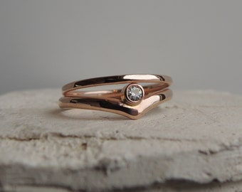 Chevron Engagement Ring Set - Wedding Set - Eco-Friendly Sustainable Solid Rose Gold 10K - 2.5 mm Moissanite Harmony Canadian Diamond