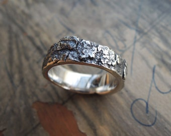 Thick OOAK Bark Ring - Unique Lost Wax Technique - Engagement - Unisex - Sustainable Silver 925 - Made to order